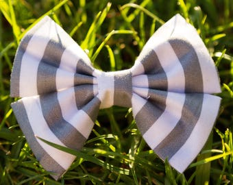 Grey Stripe Bow & Bow Tie