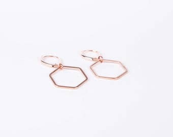 Rosegolden Hexagon Earrings Hive Earrings Dangly Earrings  Hive Rose gold