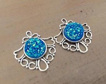 2 Blue Faux Druzy pendants, silver pendants, druzy charms, silver blue druzy, USA charms