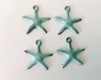 4 Starfish Charms, Patina starfish, verdigris, sea life charms, ocean, beach, USA charms