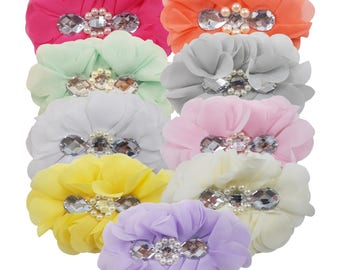 """You Pick Colors - 5"""" Chiffon Jewel Centered Flowers - Just the Flower - Craft Supply - CJC"""