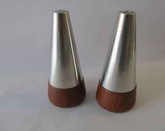 Mid Century Modern Salt Pepper Shakers Stainless Wood