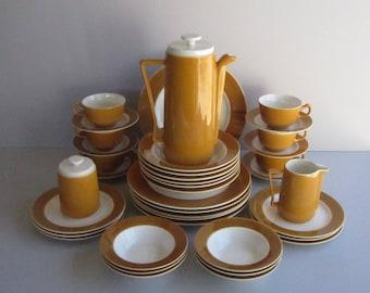 Homer Laughlin Orbit -- Mid Century Modern Coffee Server, Creamer and Covered Sugar Bowl - Serving Piece - 1963