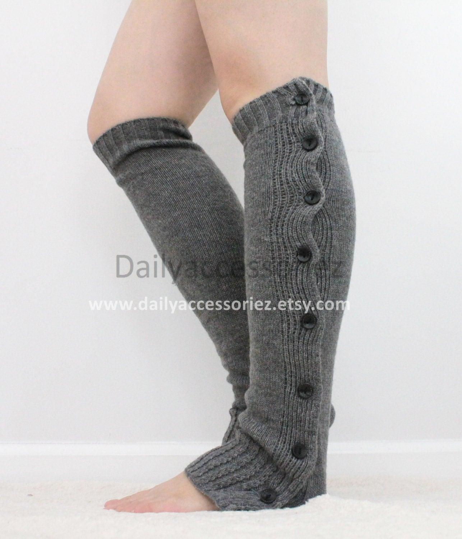 Knitting Pattern For Ladies Leg Warmers : gray womens leg warmers grey button knit leg warmers leg