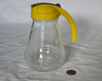 Vintage Androck Drip Cut Syrup Dispenser - Yellow Top