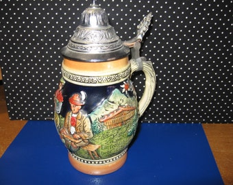 "Large German Stein, Villagers, Animals, marked Germany, DBGM 73, Vintage, 8.5"" tall x 3"" base diameter"