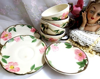 Vintage Desert Rose (USA Backstamp) Flat Cup, Flat Cup and Saucer, Dessert Bowl, by Franciscan, Pink Rose