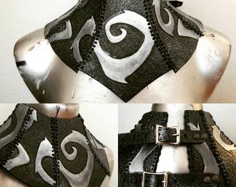 Tim Burton Inspired Leather Neck Corset