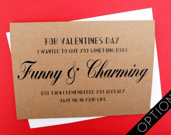 Funny Card | Love Card | Couples Card | Funny Valentines Day Card | Humorous Card | Handmade Card | Quote Card | Cheeky Slogan Card | Quirky