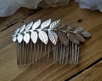 Wedding Hair Comb - Silver Leaves design with Silver comb - Style H1855SIL