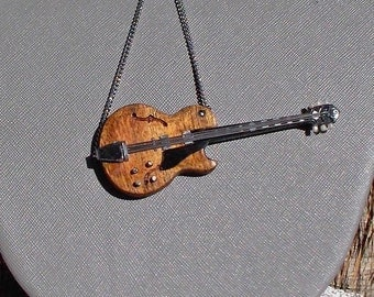 Rockabilly hollow body guitar pendant handmade from scratch from recycled wood other repurposed materials