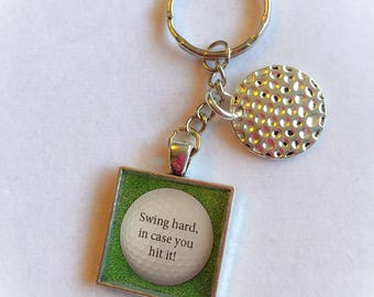 Golf keychains, golf, golfball, dad gifts, Father's Day gifts, golf gifts, golf keychain,  sports keychains, golfer gifts