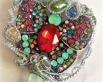 Crystal Butterfly rainbow wirewrapped rainbow statement pendant with quartz