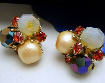 Vintage Vogue Earrings Baroque Opalescent Orange Rhinestones Clip Ons