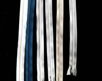Lot of 6 separating zippers white, cream, green