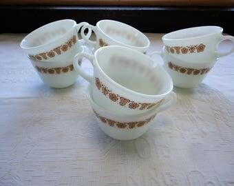 Pyrex Gold Butterfly Pattern Set Of 8 Tea Cups Vintage Corningware