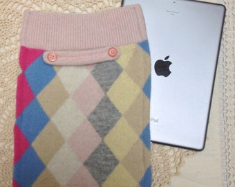 Upcycled wool iPad sleeve