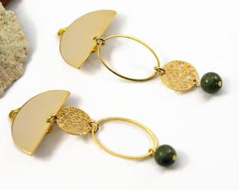 Khaki earrings, Asymmetrical earrings, Clip on dangle earrings, Half-Moon earrings, Geometric Clip on earrings, mismatched earrings, Boho