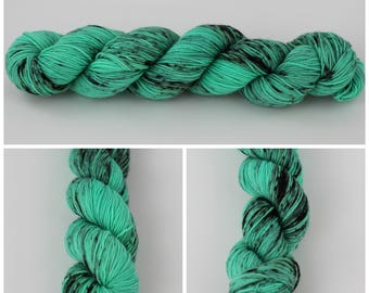 Simple Sock - Hand dyed yarn - 50 gm skein {Wicked} mint yarn, green yarn, speckled sock yarn, hand dyed sock yarn