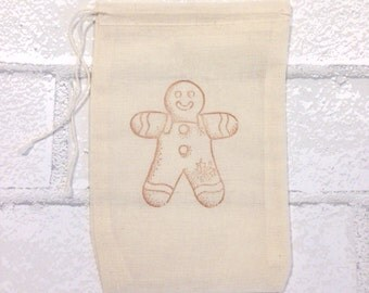 Christmas Favor Bags Gingerbread Man Baking 10 Hand Stamped Party Favor Gift Bag Vintage Nostalgic Holiday Decoration Muslin Cloth Bags