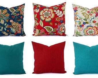 Outdoor Pillow Cover - Floral Pillow Sham - Red Throw Pillow - Teal Pillow Cover - Solid Throw Pillow - Red Pillows - Blue Pillows - Custom