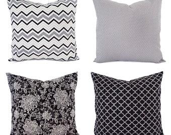 One Throw Pillow Cover - Black Decorative Pillows - 18 x 18 inch 20 x 20 16 x 16 Pillow - Grey Pillow Cover - Black Pillow Cover Chevron