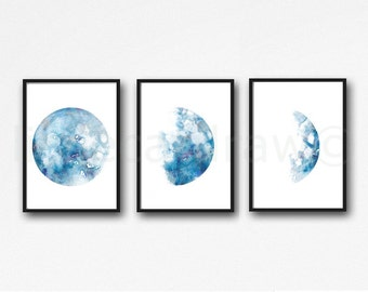 Moon Phase Print Set of 3 Watercolor Prints Luna Bedroom Wall Decor Minimalist Blue Moon Lunar Phases Moon Art Wall Art 3 Art Prints