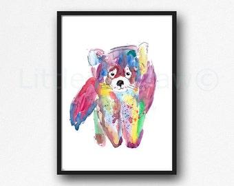 Rainbow Red Panda Print Watercolor Painting Print Wall Art Panda Watercolour Unframed Art Print Animal Print Wall Decor