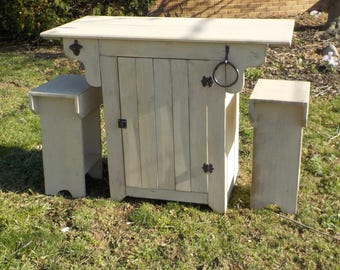 Small Farmhouse Urban Kitchen Island with two Stools
