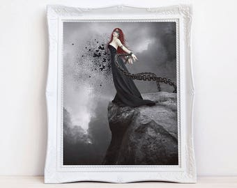 Gothic fantasy woman with butterflies art print