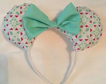 Teal Geometric Minnie Mouse Ears