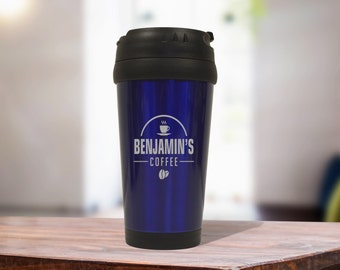 Blue Stainless Steel Coffee Travel Mug, Personalized Office Gift