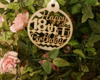 Happy Birthday Age  Wooden Gift Tags 18th /21st/30th/40th/50th/60th/65th/70th/80th/90th/100th