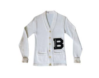 Vintage Women's Collegiate White and Black Letterman B Basketball Heavy Knit Wool Button Down Sweater