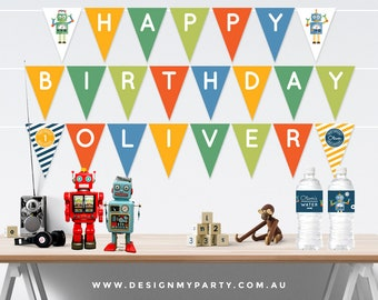Robot Party Bunting Flags (Personalised DIY Printables)