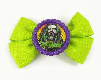 rob zombie hair bow - rockabilly psychobilly hair accessory - heavy metal hair clip - horror goth button bow