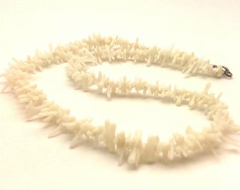 Necklace Coral Vintage Jewelry Genuine White Beaded Charming Handmade