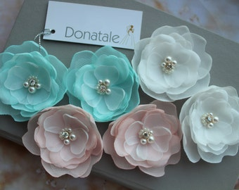Wedding Hair Flower Wedding Hair Piece Pink Blush  Peach Mint Bridesmaid hair Accessories Bridal Headpiece Bridal Hair Piece Hair Pins