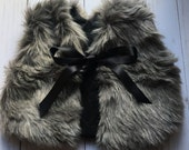 Made to order- Slivery light grey long faux fur vest: Baby-Toddler