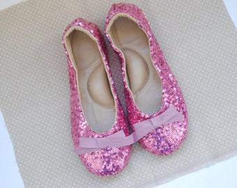 Handmade rose sequin leather ballet flat slipper shoes custom made