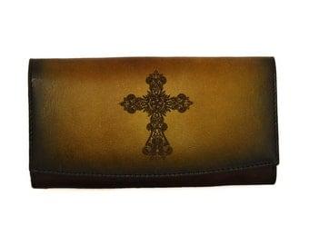 Christ Cross Brown Genuine Leather Handmade Clutch Purse Handbag Wallet Vintage Pouch