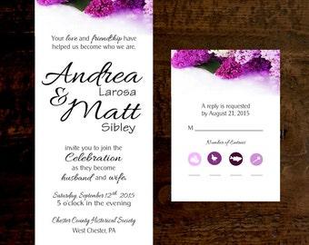 Wedding Invitation & RSVP Lilacs Printed Invitations