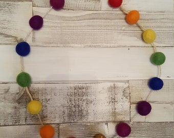 Rainbow Hanging Felt Ball Garland