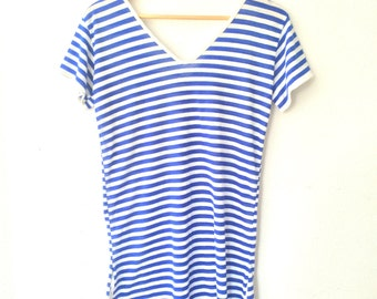 Vintage nautical Stiped Thin xtra long Blue and White Striped Tshirt