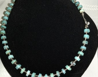 Unique  turquoise disks and sterling silver, necklace