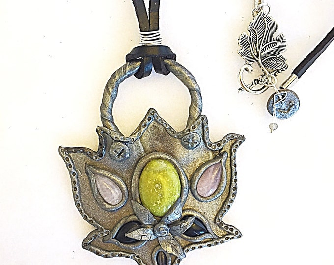 Peridot, Rose Quartz, Black Onyx and Cat Eye Silver Lotus Flower Large Pendant on Black Leather with Moonstone & Labradorite