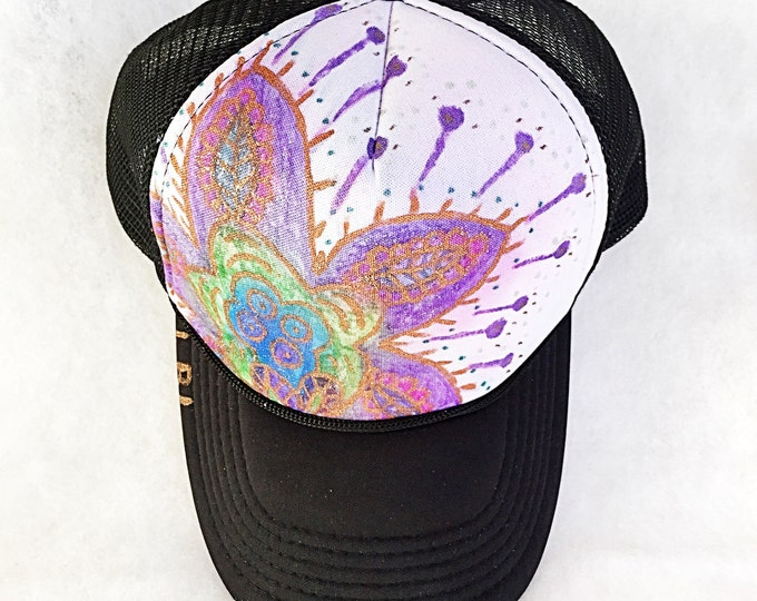Hand Painted Bright Boho Paisley Copper Bronze Metallic Detail Trucker Hat, Black Trucker Hat with Bold Bohemian Sparkle Glitter