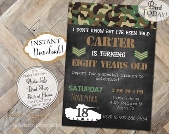 INSTANT DOWNLOAD - Army Birthday Invitation - Army Tank Camo Camouflage Birthday Invite - Boy Birthday - Boot Camp Military Birthday - 0196