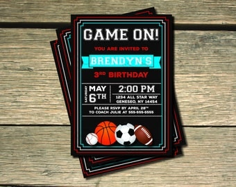 GAME ON!  All Star Sports Birthday Invitation- 5x7