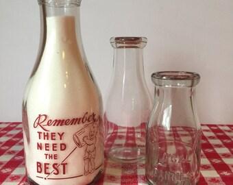 Vintage Milk Bottle, Glass Dairy Milk Bottle, Quart Milk Bottle, Portland Milk Producers, Farmhouse Kitchen, Rustic Kitchen